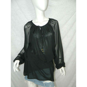 Michael Kors Shirt Black Long Sleeve Tunic Size 14